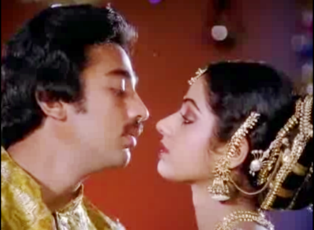 Kamal Haasan and Sreedevi in Pattabhishekam (1982)