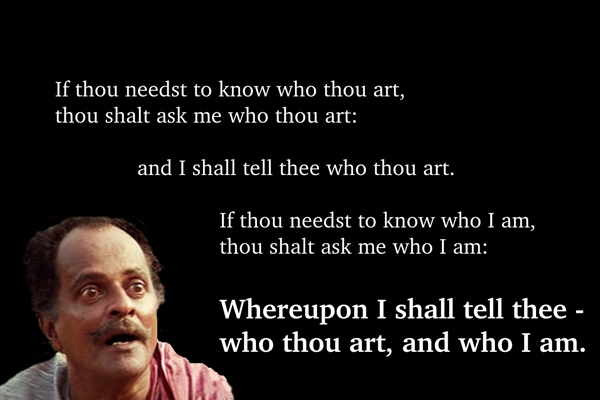 Kuthiravattam Pappu's existentialist rant in Thenmavinkombathu