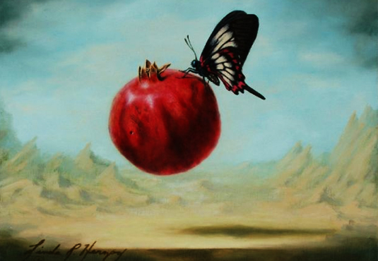 Fly By Fruitie Pomegranate, a painiting by Linda R. Herzog