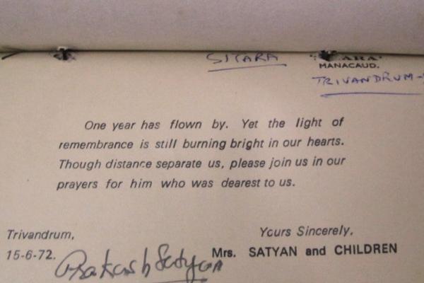 Sathyan's Memorial Service Invite