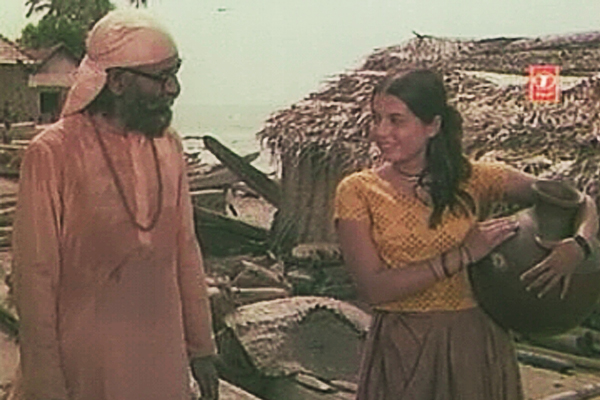 Swami amazes Parvati with his knowledge of her locality - Kanyakumari (1974)